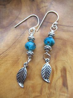 Turquoise with Leaf Yoga Namaste Earrings by DestinyAccessory, $12.00