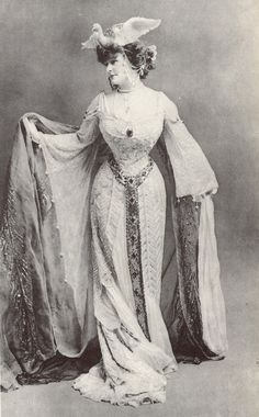 1890s Daisy, Countess of Warwick in theatrical dress |This photo shows the Daisy Greville poses in an attention-getting party costume without a distinct waist seam that still shows off her bust and hips. The sleeves are very widely flared as can be seen to the left