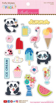 Bella+Blvd+-+Popsicles+and+Pandas+Collection+-+Puffy+Stickers+-+Icons+at+Scrapbook.com
