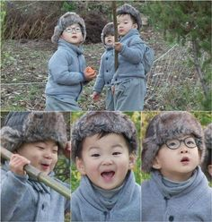 """The upcoming episode of KBS 2TV's """"The Return of Superman"""" will feature Song Il Gook and his triplets partake in a temple stay experience. During their stay, the brothers try to pick some persimmons from persimmon trees. Daehan, Minguk, and Manse quickly become enamored with the sw..."""