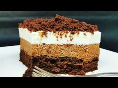 Reteta Prajitura Trei gusturi | Receta Pastel tres sabores - YouTube White Chocolate Mousse, Cream White, Biscotti, Tiramisu, Vanilla, Deserts, Make It Yourself, Baking, Sweets