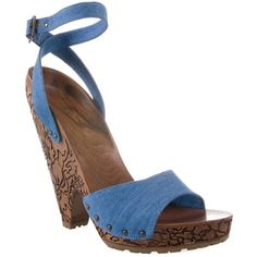 STELLA MCCARTNEY Denim sandal with carved wooden heel found on Polyvore