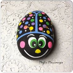 Bug - Painted rock by Phyllis Plassmeyer