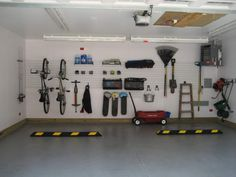 Large And High Ceiling Car Garage Design Painted With White Interior Color Decor Concrete Floor Tiles And Pegboard Garage Organization Plus Mounted Bike Storage Ideas, Garage Organization Ideas Decoration Garage Wall Organizer, Garage Wall Shelving, Garage Organization, Organization Ideas, Organized Garage, Organizing Tips, Pegboard Garage, Garage Walls, Garage Hooks