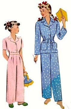 Vintage 1940s Christmas pajamas Sewing Pattern McCall 5021 Vintage 40s  Sewing pattern Girls Size 6 a7f79bd27