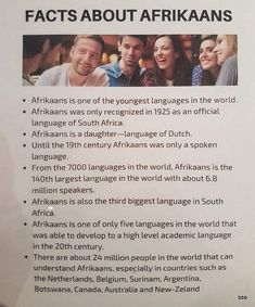 Languages Of South Africa, Afrikaans, Did You Know, Fun Facts, 19th Century, Interesting Facts, Collection, Funny Facts