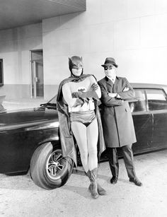 "Adam West, Van Williams, with the Black Beauty / during production of the Green Hornet and Kato's appearance on Batman in the two-part second-season episodes ""A Piece of the Action"" and ""Batman's Satisfaction"" Originally broadcast . Batman 1966, I Am Batman, Batman Robin, Superman, Gotham Batman, Batman Stuff, Batman Tv Show, Batman Tv Series, Batgirl"