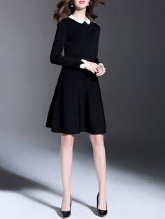 Black Casual A-line Colorfff-block Midi Dress