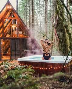 You Can Rent These Adorable A-Frame Cabins With Private Hot Tubs Near Vancouver This Spring - Narcity A Frame Cabin, A Frame House, Lakefront Property, Cabins And Cottages, Cabin Homes, Cabins In The Woods, Jacuzzi, Oh The Places You'll Go, Hot Tubs