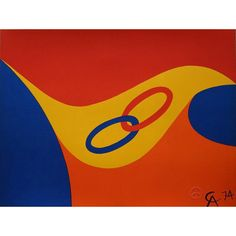Alexander Calder Friendship Rings (Flying Colors) Lithograph from jtfineart on Ruby Lane, 1974, under partnership with Dallas based Braniff Airlines.