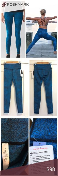 Lululemon wunder under pant Classic wunder under pants in blue/black spray jacquard print. (It looks more teal than blue depending on the light). Details shown on tag in photo. New with tags, perfect condition. Price firm unless bundled. lululemon athletica Pants Leggings