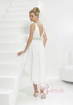 Short Beach Wedding Dresses | Short Beach Wedding Dress A-Line Tea Length Applique Satin Beads V ...