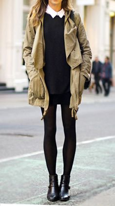 Street Chic :: collared white shirt under black sweater, black mini skirt with tights, black shoes and khaki jacket #minimalist #fashion