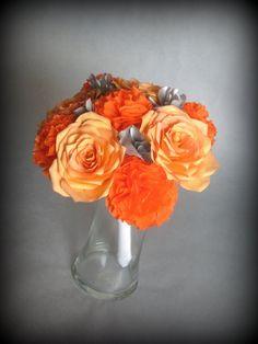 grey flowers | Orange-grey-wedding-flowers-paper-bridal-bouquet.original