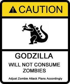 Adjust zombie attack plans accordingly. Godzilla has standards.