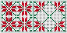 Stylized Poinsettia biscornu pattern in two colors - red and green - which are traditionally associated with Christmas