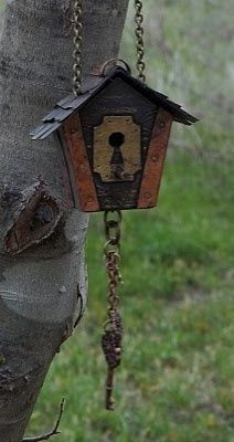 bird house with keys