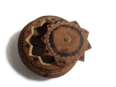 Vintage Peruvian Carved Gourd Container with by GirlFindsTreasure