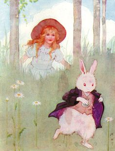 """Down the Rabbit Hole"" Illustration from Alice in Wonderland by Margaret Tarrant.  #rabbit #alice #vintage illustration"
