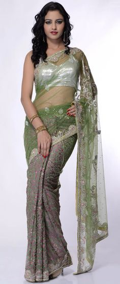 Light #Green Net and Brasso #Saree With Blouse @ $237.36