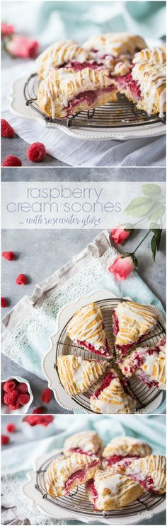 Raspberry Cream Scones with Rosewater Glaze: buttery pastry, fresh raspberries, and a sweet & floral glaze.  Perfect for a bridal/baby shower or Mother's Day brunch!  food recipes breakfast