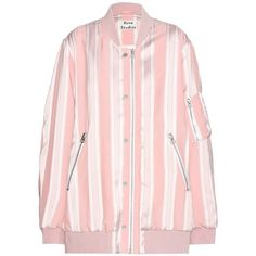 Acne Studios Varden Striped Bomber Jacket (€755) ❤ liked on Polyvore featuring outerwear, jackets, pink, blouson jacket, flight jacket, stripe jacket, acne studios and striped jacket