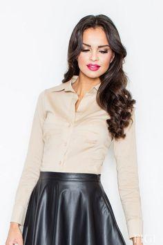 Beżowa koszula damska o dopasowanym fasonie