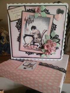 Made from the latest Crafters Companion cd Frou Frou..very girly..had to make a box would not go in envelope :-D