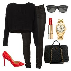 """""""All black and a splash of red."""" by fashiondiary23 ❤ liked on Polyvore featuring sass & bide, Rolex, Topshop, Chanel, J.Crew and Christian Louboutin"""