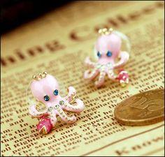 BETSEY JOHNSON Octopus PINK Stud Earring (Posts)