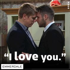Emmerdale love a juicy secret but one thing they are being very open about is that Robert Sugden and Aaron Dingle will definitely reunite in the not too distant future. Emmerdale Spoilers, Emmerdale Actors, Gay Guys, Gay Men, Danny Miller, Robert Ryan, Cutest Couple Ever, I Love You, My Love