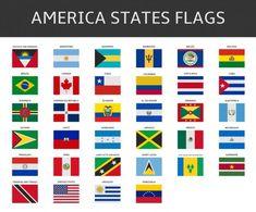 Bandeira da américa estados conjunto vetorial — Ilustração de Stock All World Flags, World Country Flags, Honduras, Barbados, Trinidad, Ecuador, Flags Of European Countries, Cuba, Bahamas