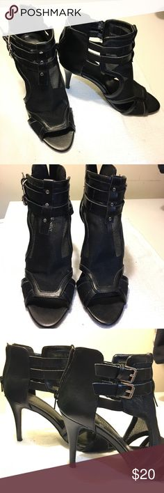 "NINE WEST OPEN TOE MESH BOOTIES Pre loved boots. So edgy and chic.  Perfect pair with skinny jeans, or with tights.  It has side buckles and mesh top. 3.5"" heel.  One of the inside sole has peeling from the store tags when I removed it.  Comfortable fit.  Please review all photos, it's the best description of the shoes.  Let me know if you have any questions.  Thank you. Nine West Shoes Heeled Boots"