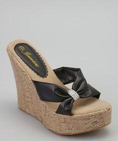 Look what I found on #zulily! Black Sassy Wedge Sandal by Gemini #zulilyfinds