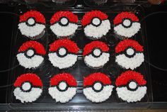 Pokemon Cupcakes 15 chocolate/15 vanilla cc's decorated in all buttercream to look like the pokemon ball