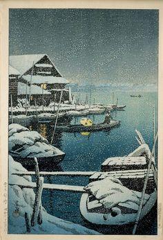"""orientalpaintings: """" Kawase Hasui (1883-1957) - Snow at Mukôjima, 1931 """""""