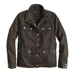 "The quintessential cool-girl jacket (aka every girl needs one). In water-resistant waxed cotton with military-inspired pockets and snaps, this is our idea of standard issue. <ul><li>Boxy fit.</li><li>Body length: 23 3/4"".</li><li>Sleeve length: 31 1/4"".</li><li>Hits at hip.</li><li>Cotton.</li><li>Standing collar.</li><li>Snap front with hidden zip closure.</li><li>Adjustable waist tabs.</li><li>Chest pockets, hip pockets.</li><li>Machine wash.</li><li>Import.</li><li>Online only.</li></ul>"