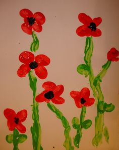 finger painting – Gardening with Children Remembrance Day Activities, Remembrance Day Poppy, Daycare Crafts, Toddler Crafts, Crafts For Kids, Daycare Ideas, Finger Paint Art, Finger Painting, Poppy Craft For Kids