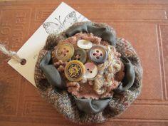 Handmade Harris Tweed & Wool Vintage Button Corsage Brooch Adornment