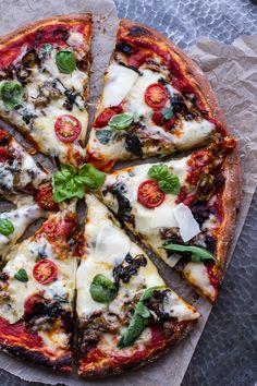 Cheesy Fontina Caramelized Onion, Chorizo, Spinach and Artichoke Pizza   halfbakedharvest.com @hbharvest