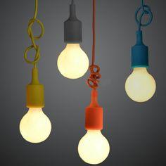 luminária pendente em silicone colorido