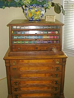 Antique spool cabinets- I absolutely love this and would be thrilled to have one in this lifetime!!!