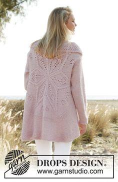 DROPS kruhový svetr - kabátek s ažurovým vzorem pletený z příze