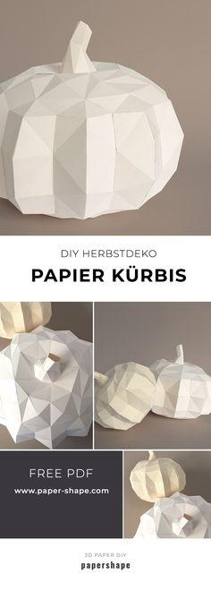 kurbis basteln aus papier als deko zum herbst fur den tisch oder eingang papershape