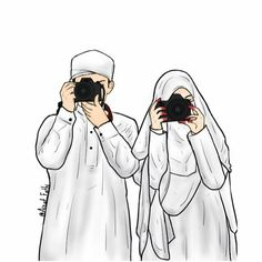 kumpulan kartun romantis parf 3 - my ely Cute Muslim Couples, Muslim Girls, Cartoon Girl Drawing, Girl Cartoon, Best Facebook Profile Picture, Muslim Photos, Muslim Couple Photography, Hijab Drawing, Islam Marriage