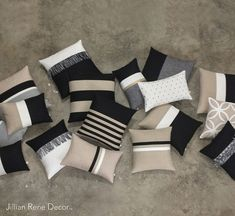 Luxury Pillow Cover Set - Elegant Neutrals - Black, Cream, Natural & Gold - Modern Home Decor by JillianReneDecor (Custom Colors Available)