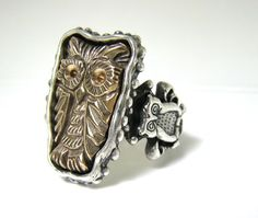 Owl Sacred Bronze Owl Ring the Flying Cat R074 by RXVrings on Etsy