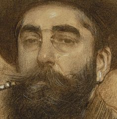 "detail from ""Self-portrait"" by Ramón Casas i Carbó (catalan Museu Nacional d'Art de Catalunya - MNAC, Barcelona Fine Art Drawing, Guy Drawing, Life Drawing, Painting & Drawing, Art Drawings, Trois Crayons, Spanish Painters, Spanish Artists, Portraits"
