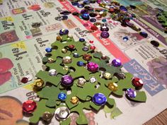 Christmas tree craft using old puzzle pieces - painting, gluing, planning & organizing