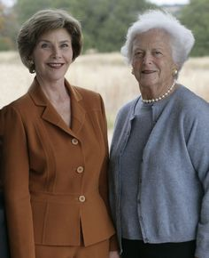daughter in law Laura and Barbara Bush-2 well polished First Ladies!